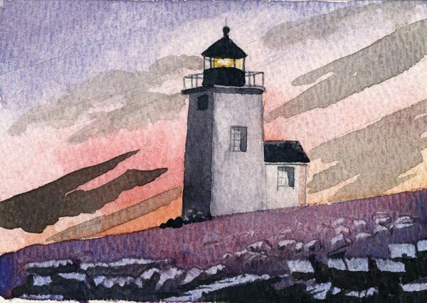 Nash Island Lighthouse Pleasant Bay Maine Matted Watercolor Art Prints