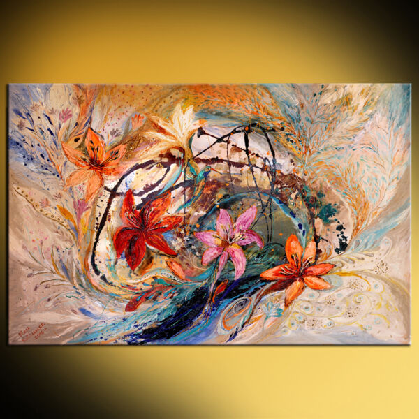 Splash Of Life #17: The humming-bird and exotic flowers palette knife artwork