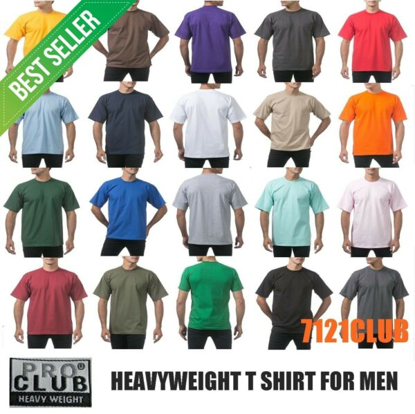 PRO CLUB HEAVYWEIGHT T SHIRTS PROCLUB MENS PLAIN CREWNECK SHORT SLEEVE TEE S-7XL $5.00