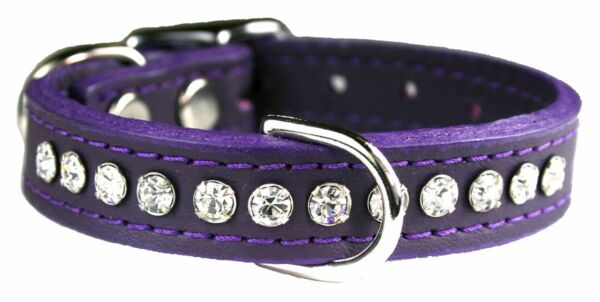Leather and Rhinestone Fancy Dog Collar Purple Size 12 inch Made in the USA $19.95