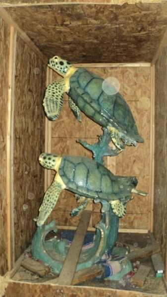 3 TURTLES BEAUTIFUL BRONZE SCULPTURE FOUNTAIN * 72 inches Tall * NEW in CRATE