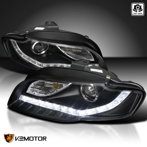 For 2006 2008 Audi A4 Black Projector Headlights w R8 SMD LED Strip DRL Lamps
