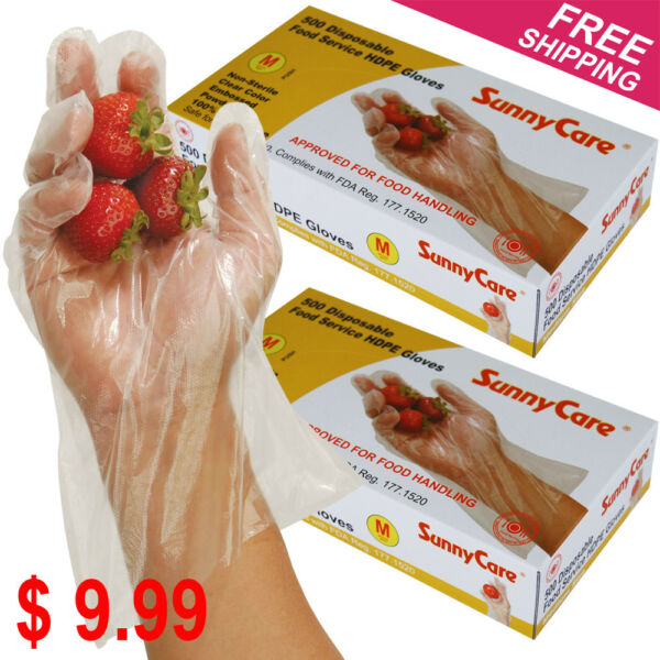1000 Polyethylene Food Service Disposable Gloves (Vinyl Nitrile Latex Free) -- M