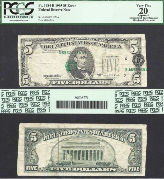 $5 1995 FRN=ERROR NOTE=SHIFT=MISALIGNED OVERPRINT=NEW DISCOVERY=PCGS VF 20