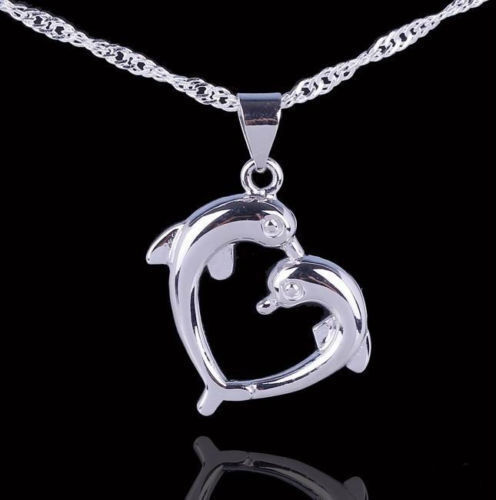 Love Heart Sterling Silver Dolphin Necklace Pendant with 18quot; Chain Gift Box L32 $9.95