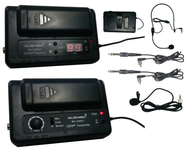 MUSYSIC Professional UHF Wireless Microphone System for Guitar CameraCamcorder