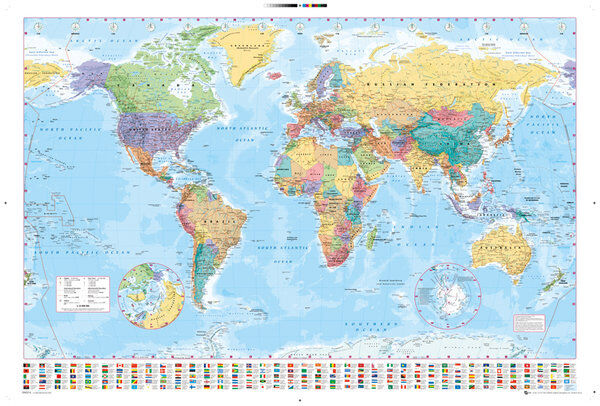 WORLD MAP POSTER - 24x36 GEOGRAPHY COLOR FLAGS 33057