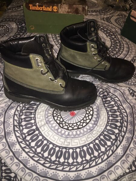 Timberland Black Olive Two Tone Sz 10 6 Inch Boots $70.00