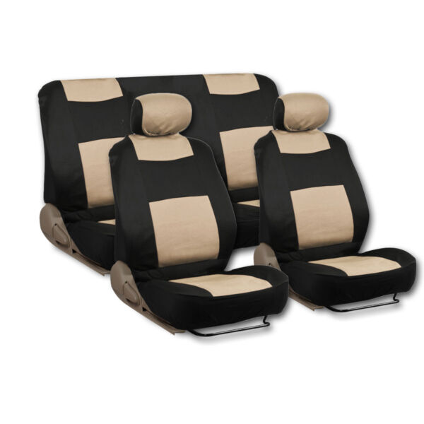 Beige 9 piece Type-R Exquisite Seat Cover Full Set Front and Rear