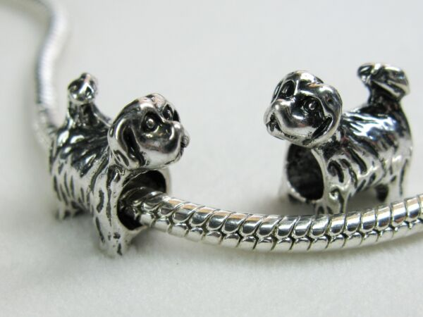 Precious Little Shih Tzu Puppy Dog Charms Tibetan Silver for European Jewelry $2.90