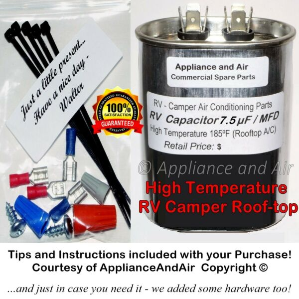 1499 5461 Coleman RV A C Fan Capacitor 7.5 µF mfd Troubleshooting SHIPS TODAY $22.85