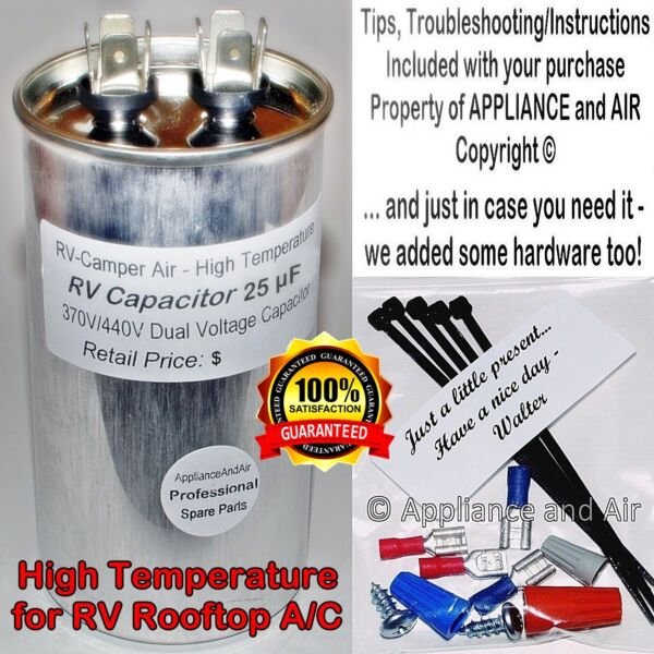 1499 5661 Coleman RV Camper A C Run Capacitor 25 µF mfd Hardware Ships TODAY $21.95