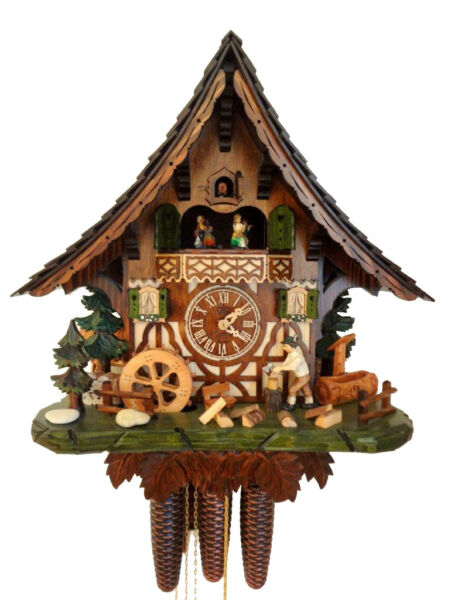 cuckoo clock hettich black forest 8 day original german  music wood chopper new