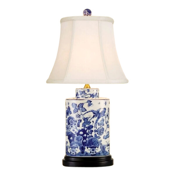 Chinese Blue and White Porcelain Tea Caddy Jar Bird Floral Motif Table Lamp 21