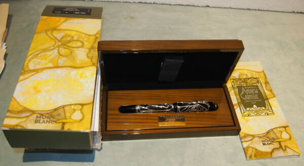 MONTBLANC ANDREW CARNEGIE LIMITED EDITION GOLD & STERLING WOODEN BOXBOOKLET