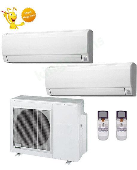 18000+24000 Btu Fujitsu Dual Zone Ductless Wall Mount Heat Pump Air Conditioner