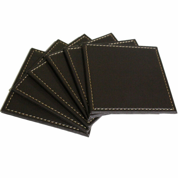 Faux Leather Coasters Set of 4 & 6 And Set Of Six With Holder