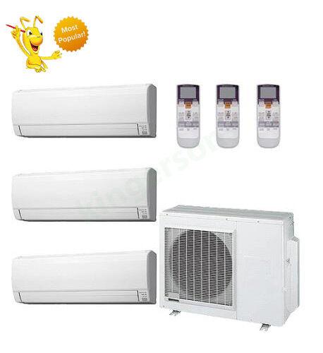 9k + 18k + 24k Btu Fujitsu Tri Zone Ductless Wall Mount Heat Pump AC
