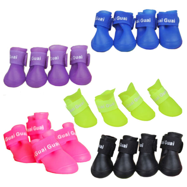 Pet Shoes Booties Rubber Dog Waterproof Rain Boots N3