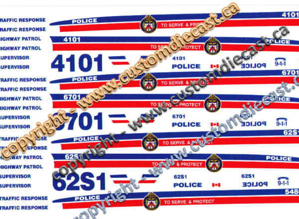 1 26 SCALE TORONTO POLICE DECALS DOES 3 CARS BILBOZO DECALS C $9.99