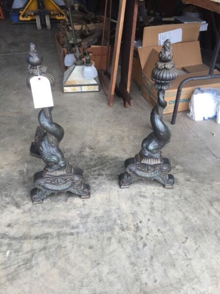 One Pair Rare Cast-Iron Dolphin Fireplace And Irons
