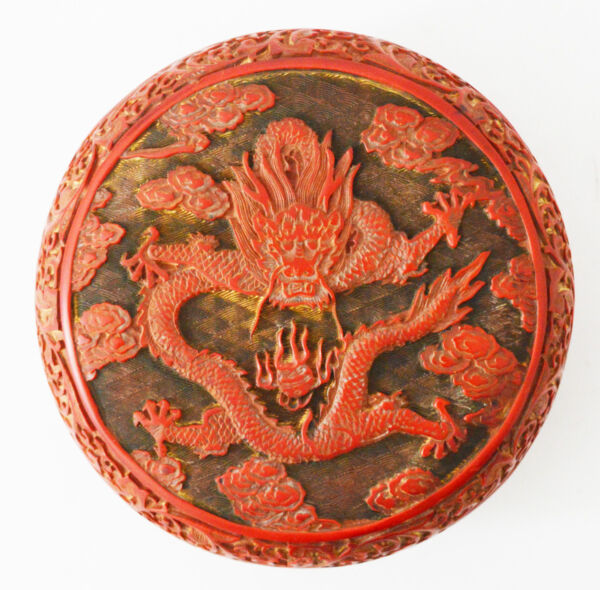 18th C. ANTIQUE LARGE CHINESE LACQUER CINNABAR BOX BOWL WOOD DRAGON
