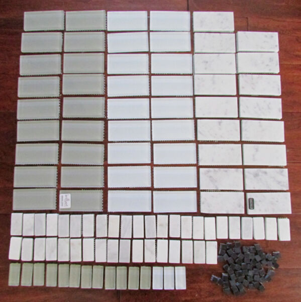 Mixed Lot Glass and Marble Subway Tile 1 X 2 and 2 X 4 Carrera Marble Gray White