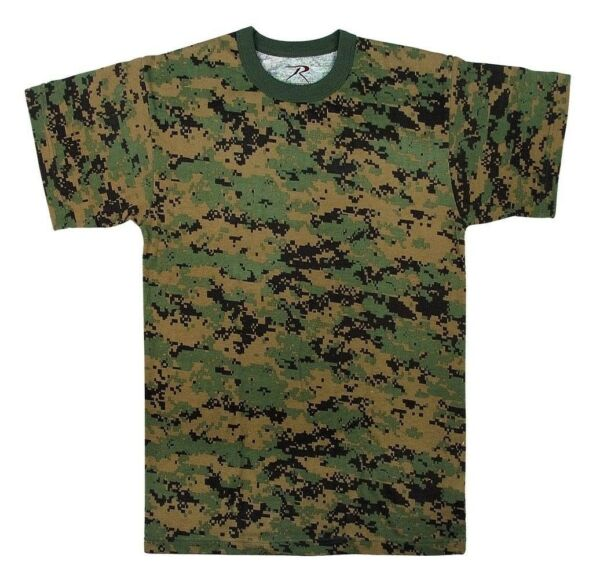Mens Digital Camouflage T-Shirt Woodland Digital Camo by Rothco S- 4X