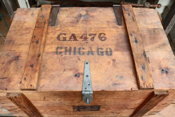 Large Vintage Chicago Wooden Crate Box with Metal Latch and Handles Steampunk
