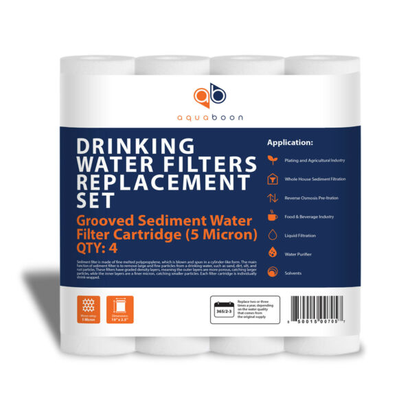 Grooved Sediment Water Filter 5 Micron 10quot; x 2.5quot; size 4 PACK by Aquaboon $12.99