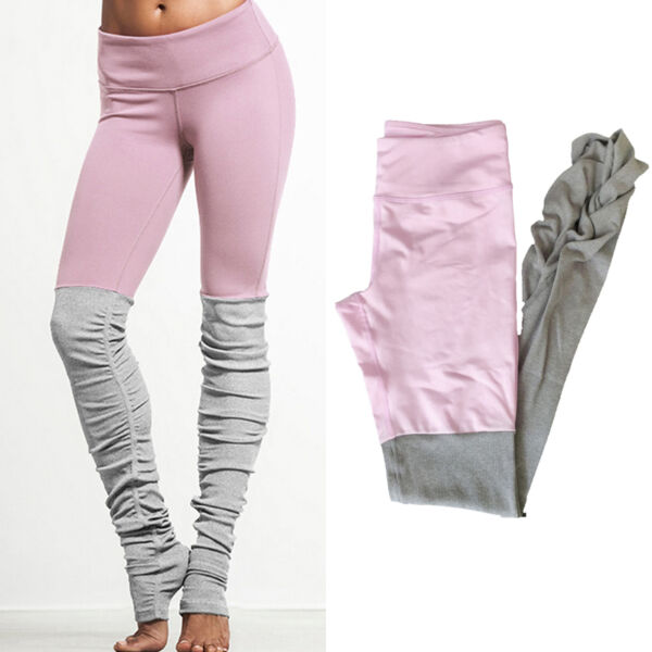 Damen Gekräuselt Fitness Tights Leggings Pants Sport Yoga Pant Gym Hose Freizeit