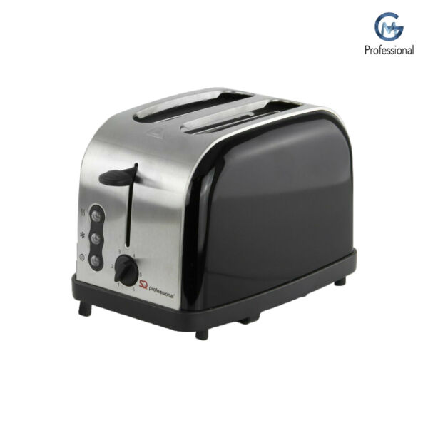 Two 2 Slice Wide Slot Toaster Toast Defrost Reheat Browning Function 900W Black