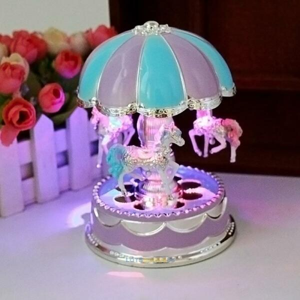 Kids Girls LED Carousel Light Music Box Christmas Birthday Gift Musical Toy LS