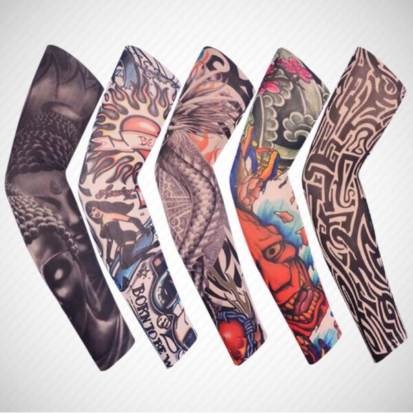 2PCS Personality Tattoo Skins Arm Warmer Cuff Sleeve UV Covers Sun Protection