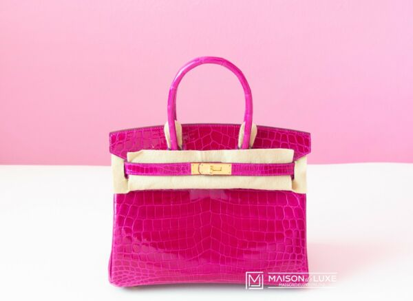 NEW HERMES ROSE SCHEHERAZADE PINK BIRKIN GHW 30 CROCODILE BAG KELLY HANDBAG TOTE