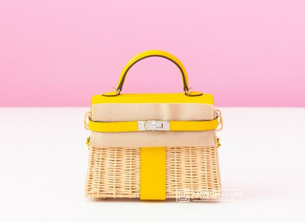 NEW HERMES JAUNE DE NAPLES YELLOW PICNIC KELLY MINI 20 WICKER BAG HANDBAG