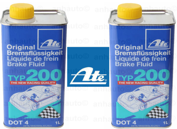 Set of 2 ATE DOT 4 TYP 200 –  Brake Fluid  Amber Color (High Boiling Point)