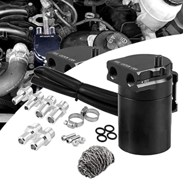 Oil Catch Can Kit Reservoir Tank Engine Black Polish Baffled Universal Aluminum
