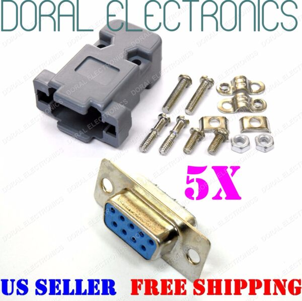 5X DB9 9-Pin Female Solder Cup Connector with Plastic Hood Shell