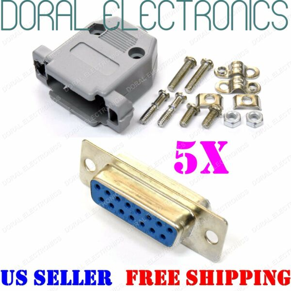5X DB15 15-Pin Female Solder Cup Connector & Plastic Hood Shell & Hardware DB-15