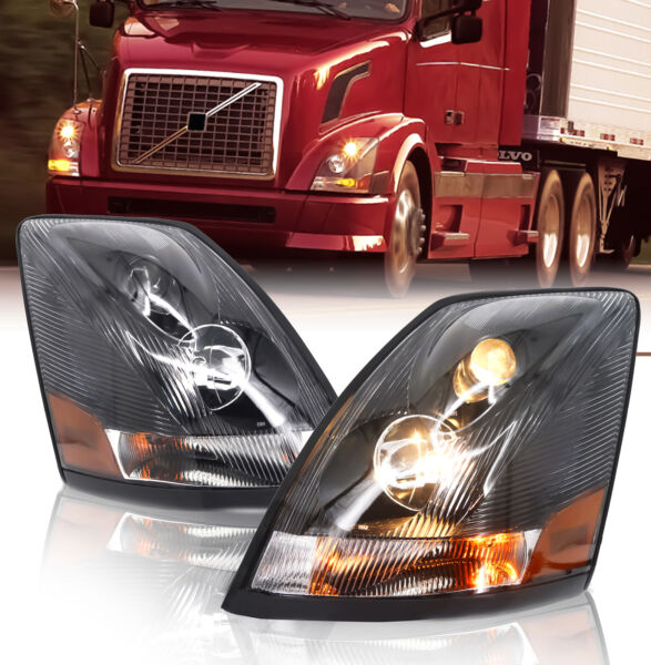 Volvo  04-17 VN/VNL Truck Headlight Headlights Pair Left Right Side w/ All Bulbs