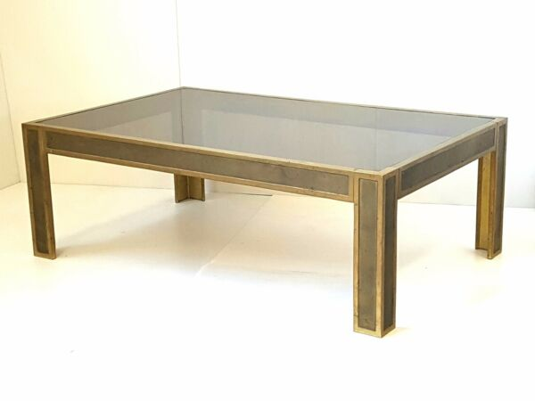 PETER GHYCZY : COFFEE TABLE RECTANGULAR BRONZE & GLASS 1970 VINTAGE 70'S
