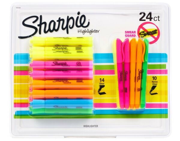 24 SHARPIE Highlighter Set 14 Chisel Tank Style & 10 Narrow Chisel Pocket Style