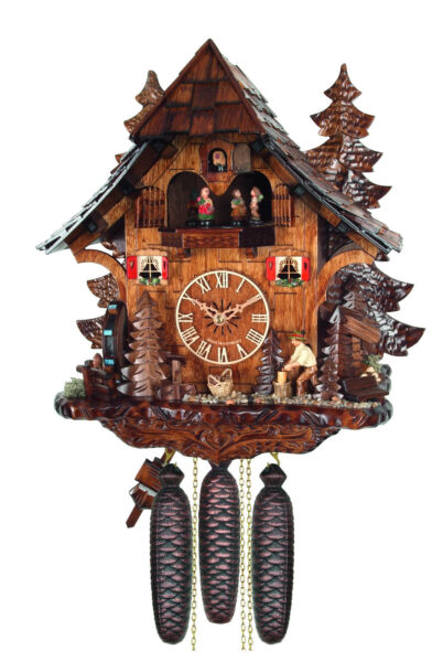 cuckoo clock black forest 8 day original german wood chopper wood music new