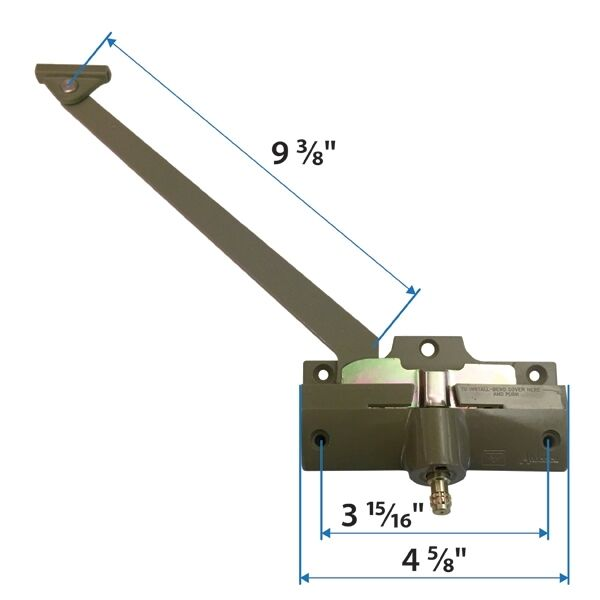 Andersen Straight Arm Operator Left Hand with 9 3 8 inch Arm Length in Stone