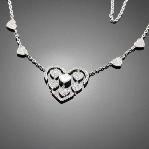 CHOPARD AMORE HEARTS HAPPY DIAMONDS NECKLACE 817219-1002 18K WHITE GOLD $25930