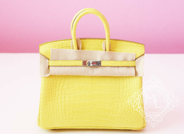 BRAND NEW HERMES LIME YELLOW MATTE CROCODILE BIRKIN 25 BAG KELLY HANDBAG MIMOSA