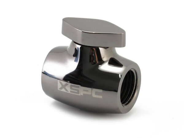 XSPC Ball Valve for PC Liquid Cooling Systems - Black Chrome Finish