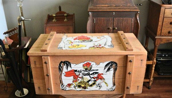 Large Vintage Cass Toys Wooden Toy Box Chest with Pirate Theme & Rope Hanldes