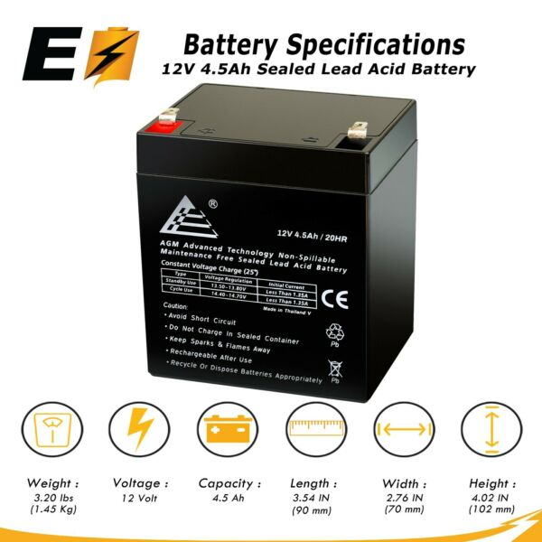 12V 4.5Ah Rechargeable Battery for djw12-4.5 LiftMaster 485LM